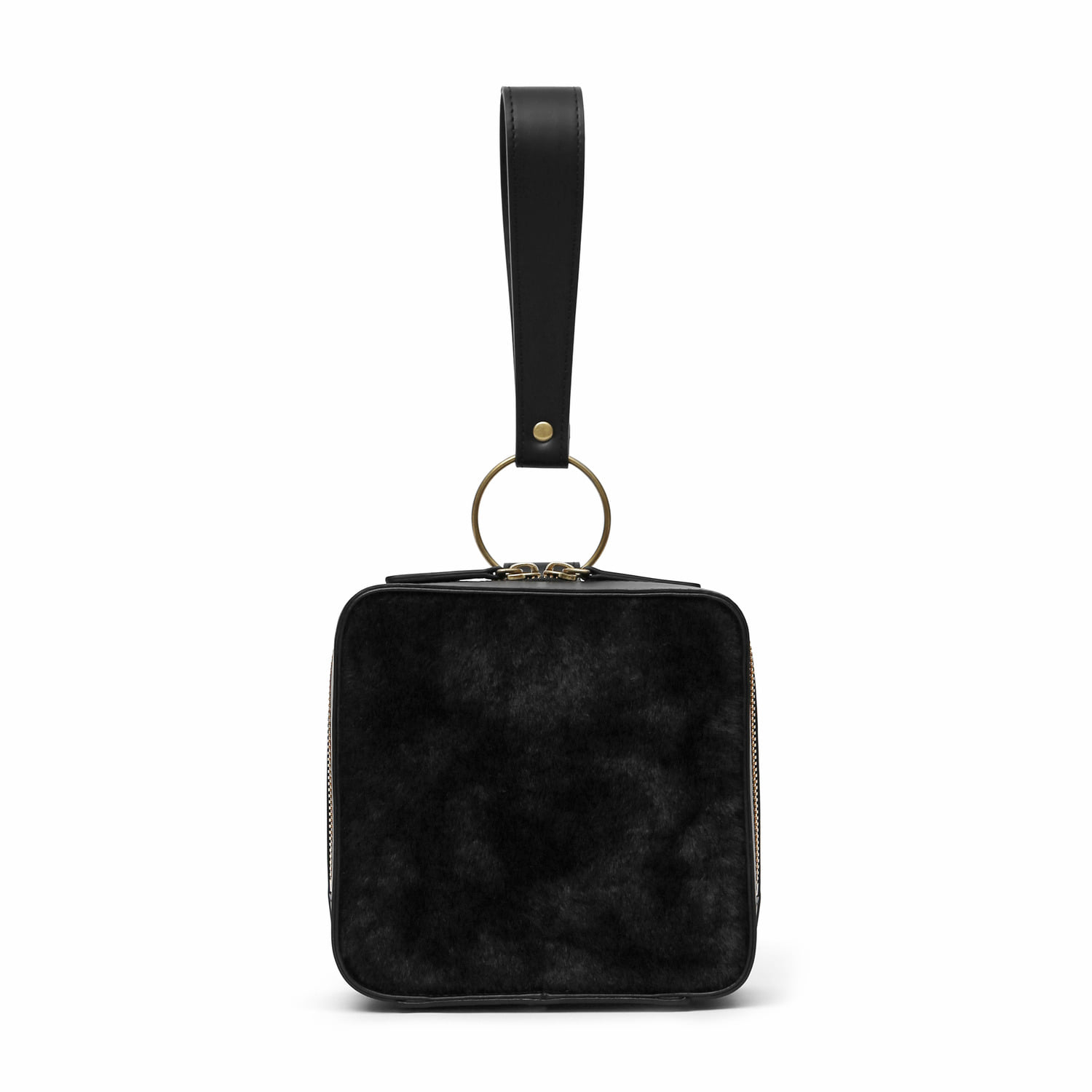 BLOCK BAG / RING STRAP / FUR / BLACK