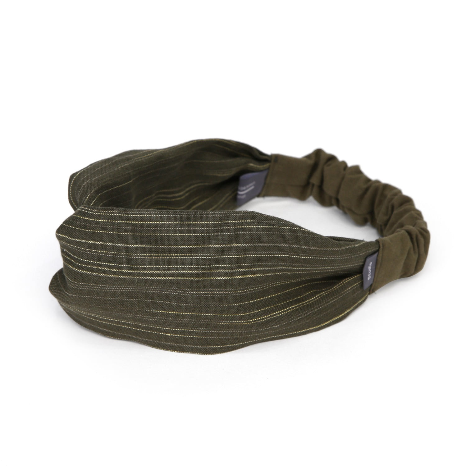 CROSS HAIR BAND / WIDE / CROSS LINEN / OLIVE