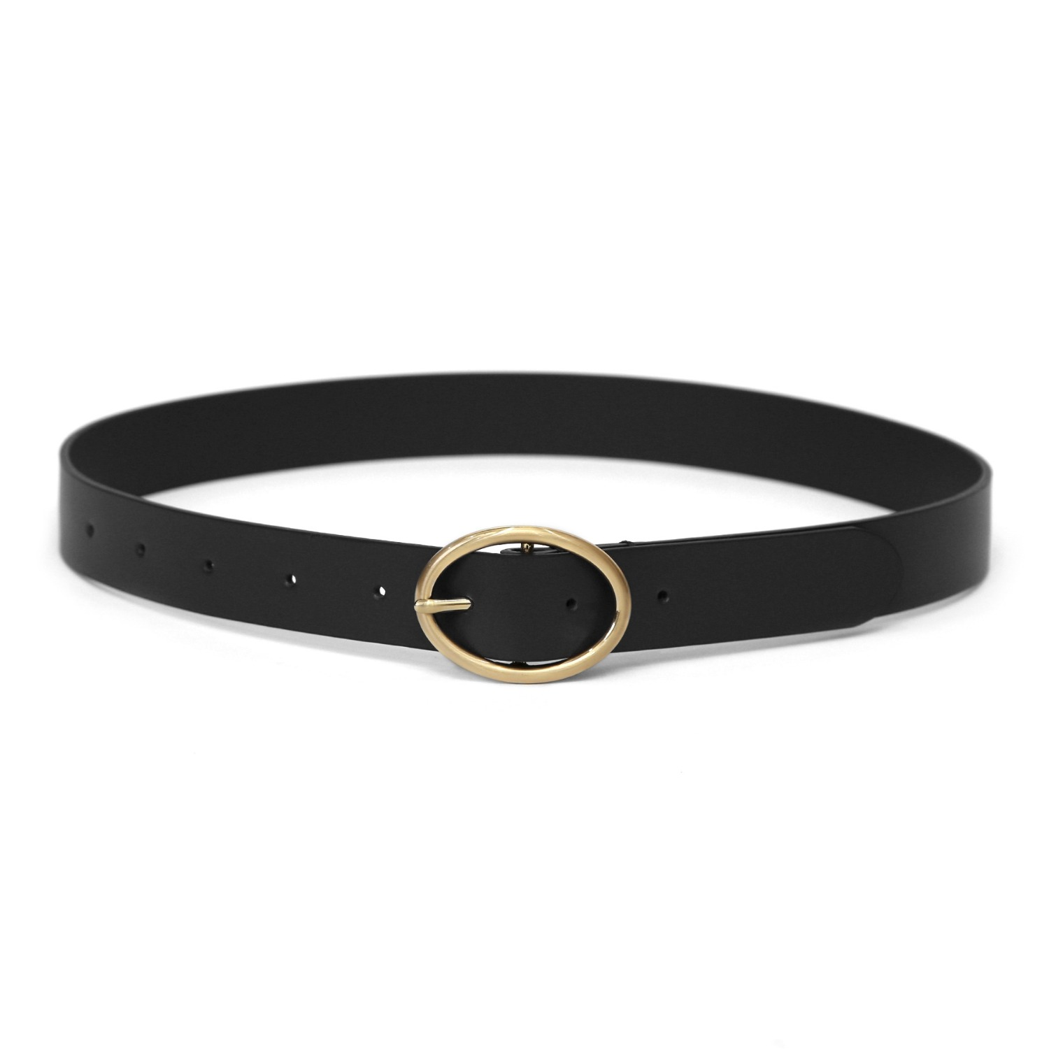 OVAL BELT / LEATHER / BLACK
