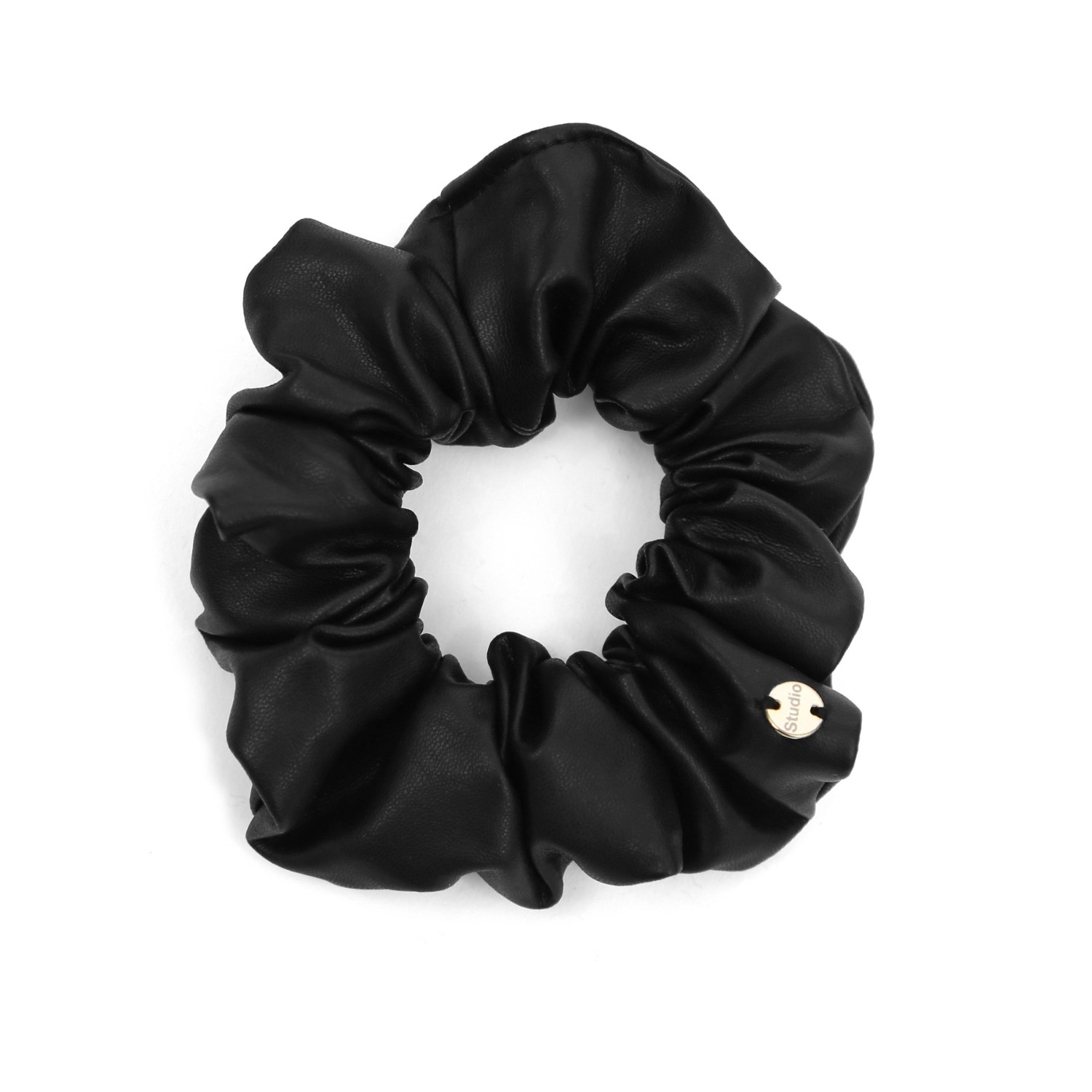 SCRUNCHIE / TINY / JEWEL / F LEATHER BLACK