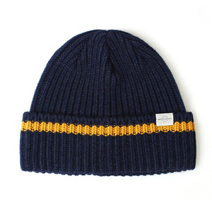 BEANIE / BOLD FIT / WOOL / ONE STRIPE / H NAVY